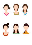 Various face shape and dress collar Stock Images
