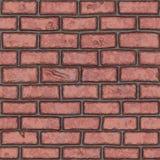 Vecchio muro di mattoni rosso senza cuciture (dipinto a mano) Fotografie Stock