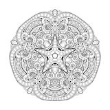 Vector Beautiful Deco Monochrome Contour Star, Patterned Design Element Royalty Free Stock Photography