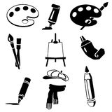 Vector black art icon set on white Stock Photos