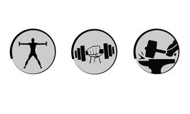 Vector bodybuilding, strength icons set. Royalty Free Stock Images