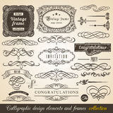 Vector Calligraphic element Border Corner Frame and Invitation Collection. Decoration Typographic Elements, Vintage Labels, Ribbon Royalty Free Stock Photography