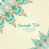 Vector card in east style on moroccan seamless Royalty Free Stock Image