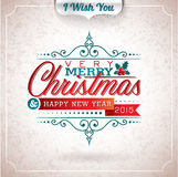 Vector Christmas illustration with typographic design on grunge background. Stock Photos