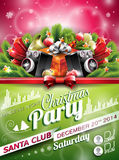 Vector Christmas Party design with holiday typographiy elements on shiny background. Stock Photo