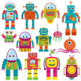 Vector Collection of Colorful Retro Robots Stock Image