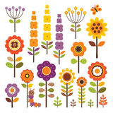 Vector collection of isolated flowers in autumn colors Stock Photos
