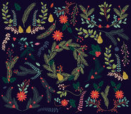 Vector Collection of Vintage Style Hand Drawn Christmas Holiday Florals Stock Photos