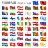 Vector Europe National Flag Set Royalty Free Stock Photo