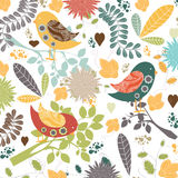 Vector floral background.Seamless floral pattern with stylized flower and bird Royalty Free Stock Photos