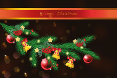 Vector fur-tree branch with Christmas decorations Royalty Free Stock Photos