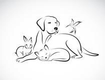 Vector group of pets - Dog, cat, bird, rabbit, Stock Photo