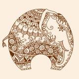 Vector Henna mehndi decorated Indian Elephant Royalty Free Stock Image