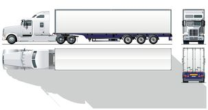 Vector hi-detailed commercial semi-truck Royalty Free Stock Photography