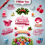 Vector Holiday collection for a Christmas theme with 3d elements on clear background. Royalty Free Stock Photography