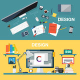 Vector illustration of creative design office workspace, designer workplace. Top view of desk background with digital Royalty Free Stock Image