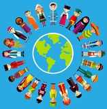 Vector illustration of multicultural national children, people in  traditional costumes Royalty Free Stock Photo