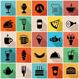 Vector illustration set of colorful food icons in  Royalty Free Stock Photo