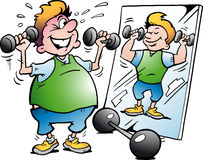 Vector Karikaturillustration eines fetten Bewegungs-Mannes, der Eignung macht Stockfoto