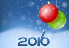 Vector New Year card 2016 Stock Images