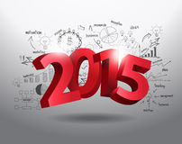 Vector new year 2015 three dimensional on drawing business Royalty Free Stock Photo