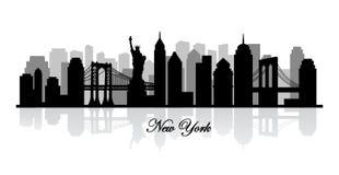 Vector new york skyline silhouette Stock Images
