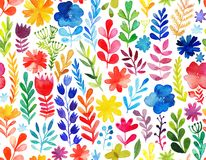 Vector pattern with flowers and plants. Floral decor. Original floral seamless background Stock Photography