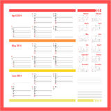 Vector planner for 2014 - April, May, June Royalty Free Stock Photo