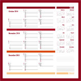 Vector planner for 2014 - October, November, December Stock Image