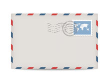 Vector postage envelope with stamp Royalty Free Stock Image