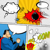 Vector Retro Comic Book Speech Bubbles Illustration. Mock-up of Comic Book Page with place for Text, Speech Bubbls, Symbols, Sound Royalty Free Stock Image