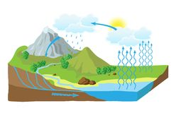 Vector schema of the water cycle in nature Royalty Free Stock Photography