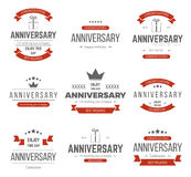 Vector set of anniversary signs, symbols. Royalty Free Stock Photography