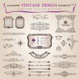Vector set calligraphic design elements decoration Stock Photography
