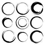 Vector set of grunge circle brush strokes. Set 4 Royalty Free Stock Images
