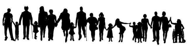 Vector silhouette of a group of people. Royalty Free Stock Images