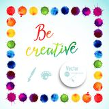 Vector square frame made of watercolor rainbow blobs, colorful paint drops texture. Vector illustration, stain of watercolors. Pai Royalty Free Stock Images