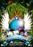 Vector Summer Beach Party Flyer Design with speake Royalty Free Stock Image