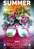 Vector Summer Beach Party Flyer Design with speakers Stock Photos