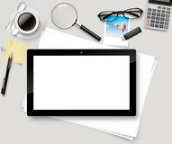 Vector Top office table with cup of coffee, papers, pencil, tablet. Royalty Free Stock Photography