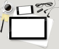 Vector Top office table with cup of coffee, papers, pencil, tablet. Royalty Free Stock Photos