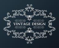 Vector vintage royal old frame ornament decor black Royalty Free Stock Images