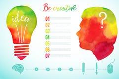 Vector watercolor human head icon. Watercolor creative concept. Creative person. Lettering. quote. Creative artist, Light bulb, cr Royalty Free Stock Photo