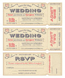 Vector Wedding Invite Tickets Royalty Free Stock Images