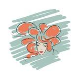 Vectorgezicht van een jong meisje met rode krullen Royalty-vrije Stock Afbeelding