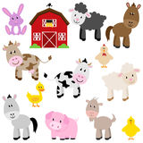Vectorinzameling van de Leuke Dieren van het Beeldverhaallandbouwbedrijf Stock Foto's