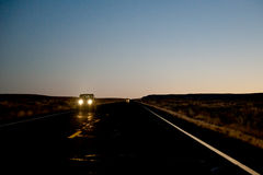 Vehicle on highway at night Royalty Free Stock Images