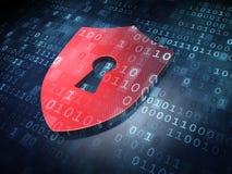 Veiligheidsconcept: Rood Schild met Sleutelgat op digitale achtergrond Royalty-vrije Stock Fotografie