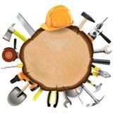 Vektor-Bau-hölzernes Brett mit Werkzeugen Lizenzfreie Stockfotos