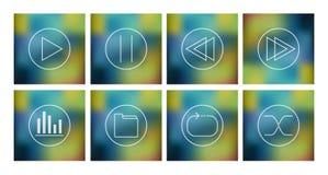 Vektoruppsättning av symboler för musikspelare Fotografering för Bildbyråer